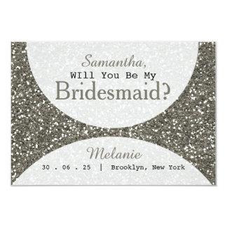 Cartão O brilho de prata você será minha dama de honra