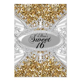 Cartão O brilho do ouro & o doce 16 da tiara do diamante