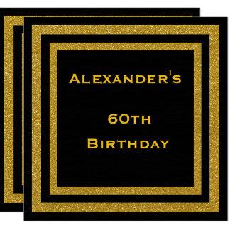 Cartão O brilho elegante do preto & do ouro moldou o 60th