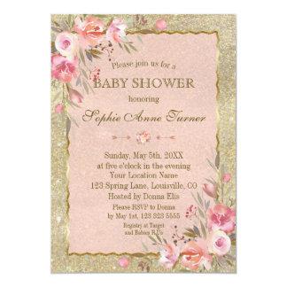 Cartão O brilho Glam do ouro cora chá de fraldas floral