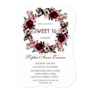 Cartão O brilho Glam do ouro cora partido floral do doce