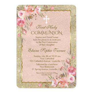 Cartão O brilho Glam do ouro cora primeiro comunhão