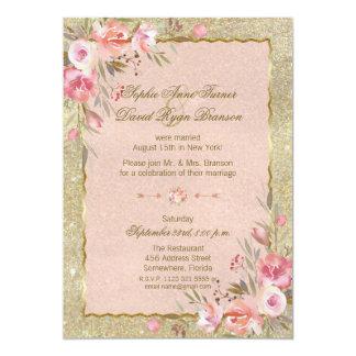 Cartão O brilho Glam do ouro cora recepção floral da