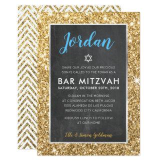 Cartão O brilho legal do ouro do quadro do BAR MITZVAH