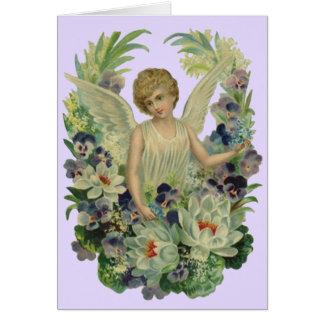 Cartão O buquê antigo do anjo do vintage floresce o