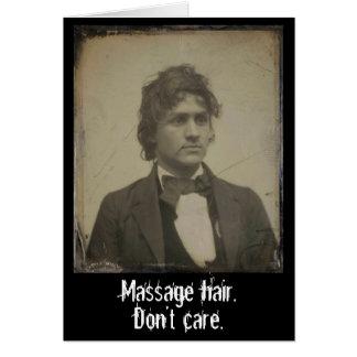 Cartão O cabelo engraçado da massagem não se importa a