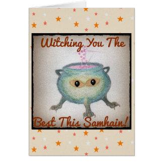 Cartão O caldeirão esperto Samhain deseja a bruxa pagã