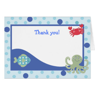 Cartão O calipso sob o mar dobrou o obrigado você notas
