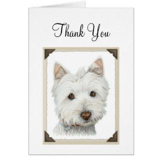 Cartão O cão bonito de Westie com bordas de papel