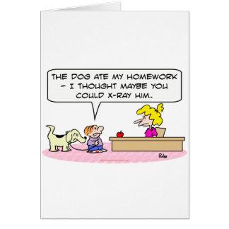 Cartão o cão comeu o raio X dos trabalhos de casa