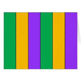 Cartão O carnaval listra o amarelo verde roxo do teste