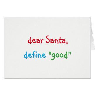 Cartão O caro papai noel define o bom feriado engraçado
