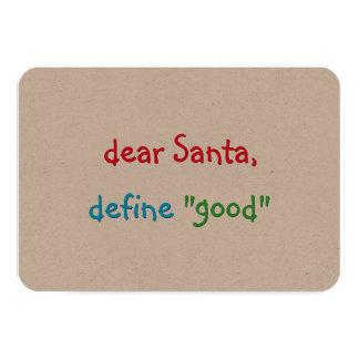 Cartão O caro papai noel define o bom Natal engraçado do