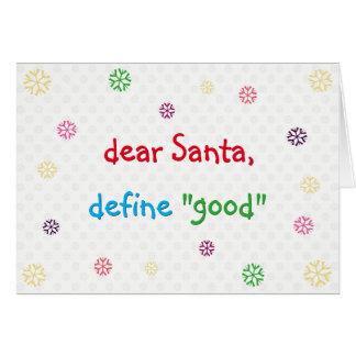Cartão O caro papai noel engraçado define o bom feriado