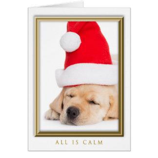 Cartão O caro papai noel todo é filhote de cachorro calmo