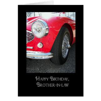 Cartão O carro desportivo aniversário-vermelho do cunhado