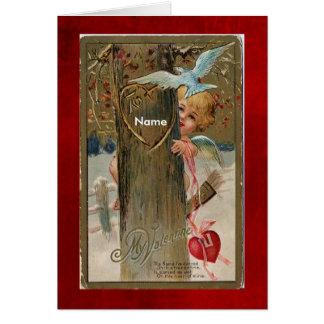 Cartão O Cartão-Vintage Namorados-Pôr o nome sobre a