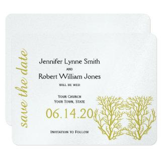 Cartão O casamento de praia coral do azul e do ouro
