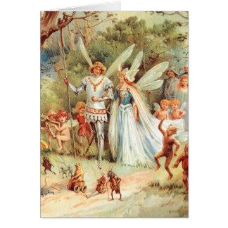 Cartão O casamento de Thumbelina na floresta