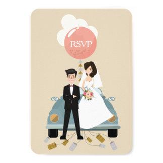 Cartão O casamento do carro do recem casados responde