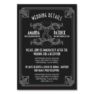 Cartão O casamento do preto do vintage do art deco
