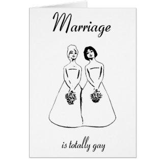 Cartão O casamento é totalmente alegre - casal fêmea