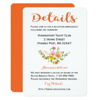 Cartão O casamento floral detalha o rosa alaranjado das