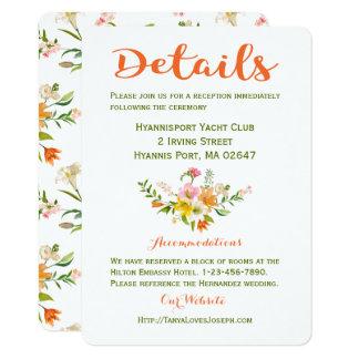 Cartão O casamento floral detalha o verde alaranjado das