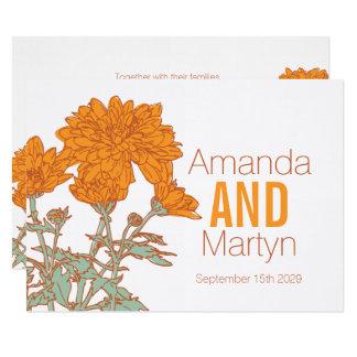 Cartão O casamento outono alaranjado do crisântemo do