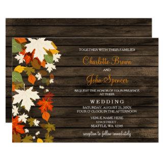 Cartão O casamento outono de madeira do celeiro rústico