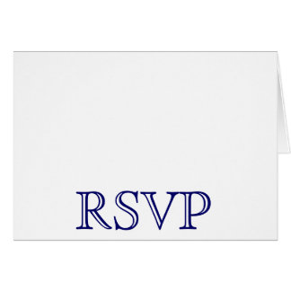Cartão O casamento RSVP carda azuis marinhos e branco