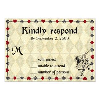 Cartão O casamento RSVP responde amavelmente, Alice no