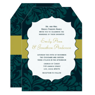 Cartão O casamento tema damasco moderno do Aqua e do