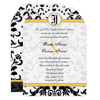 Cartão O casamento tema damasco preto amarelo da abelha