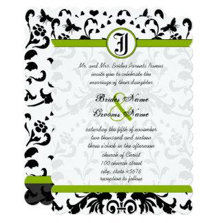Cartão O casamento tema damasco preto verde-maçã da