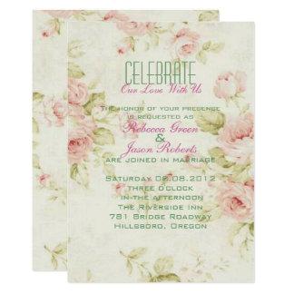 Cartão o casamento vintage floral do rosa elegante do