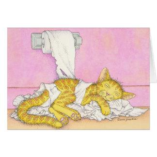 Cartão O CAT dorme no papel higiénico