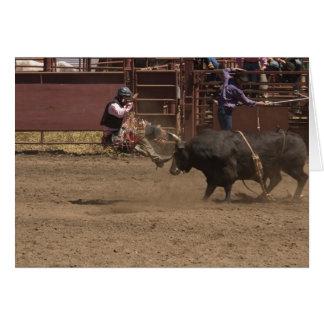 Cartão O cavaleiro de Bull obtem airlifted