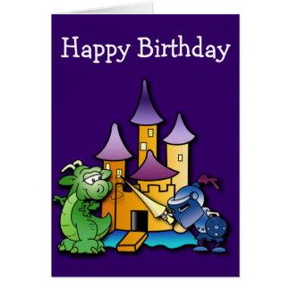 Cartão O cavaleiro e o aniversário do dragão
