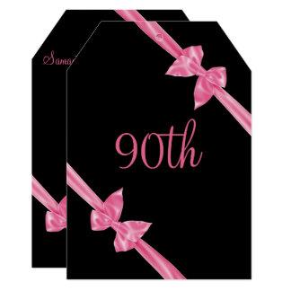 Cartão O cetim cor-de-rosa elegante curva o aniversário