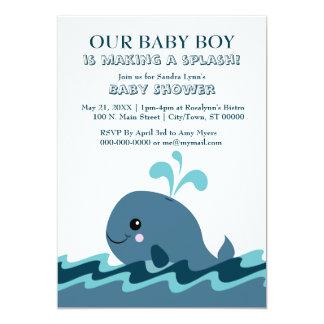Cartão O chá de fraldas azul temático da baleia convida