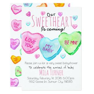 Cartão O chá de fraldas bonito do coração dos doces do