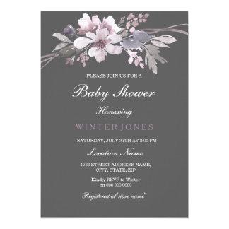 Cartão O chá de fraldas cinzento do inverno floral