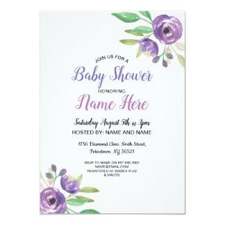 Cartão O chá de fraldas convida o Lilac floral da flor