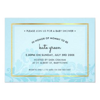 Cartão O CHÁ DE FRALDAS CONVIDA o ouro azul pálido do