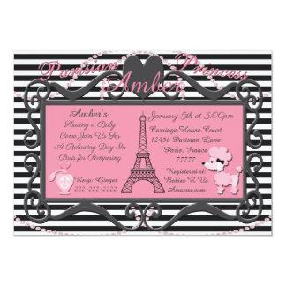 Cartão O chá de fraldas cor-de-rosa da caniche de Paris
