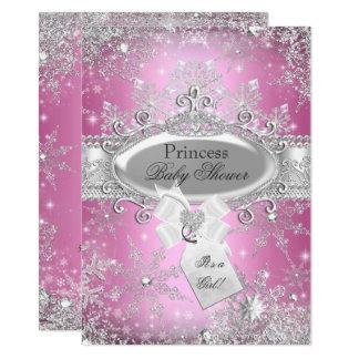 Cartão O chá de fraldas cor-de-rosa da princesa Inverno