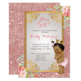 Cartão O chá de fraldas cor-de-rosa do ouro do