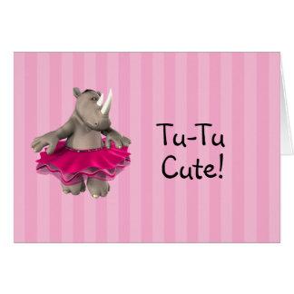Cartão O chá de fraldas cor-de-rosa do rinoceronte