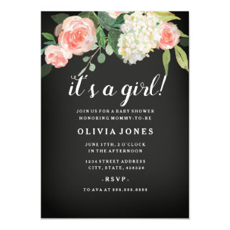 Cartão O chá de fraldas cor-de-rosa floral do quadro
